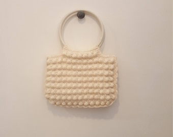 Vintage Ivory White Crocheted Hobnail Handbag with Large Round Handles