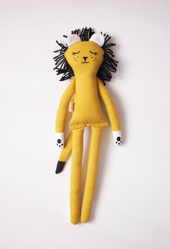 Sleeping Yellow Lion Soft Toy: handmade with organic cotton