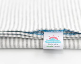 medium | gray stripe | organic cotton t-shirt hair towel