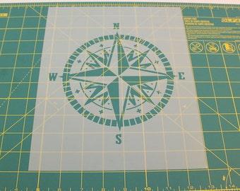 Compass Stencil - Laser Cut Mylar Stencil of Compass
