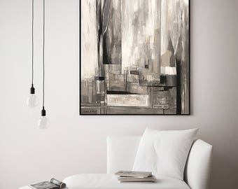 Black White Painting, City Painting, Original Artwork, Modern Art Canvas, Abstrac Painting, Acrylic Painting on Canvas, Acrylic Abstract Art
