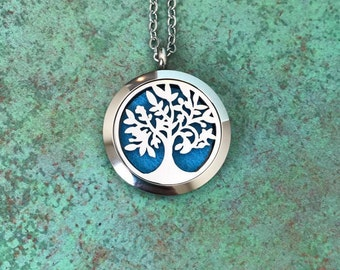 30mm Stainless Steel Tree Of Life Essential Oil Diffuser Necklace, Aromatherapy, Homeopathy, Natural Healing, Tree Of Knowledge, Gift Idea