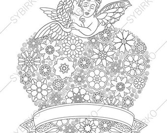 Angels in Love. Wedding Heart. 3 Coloring Pages for Valentines day. Coloring book pages for Kids and Adults. Instant Download Print