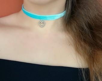 light Blue choker/ blue velvet choker/ heart choker/ heart velvet choker/ heart charm/ cute choker/ velvet choker/ basic choker/ love choker