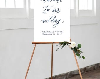 Modern Calligraphy Wedding Welcome Sign - Printable DIGITAL Design File