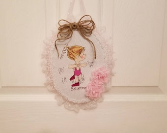 Completed Ballerina Cross Stitch Wall Hanging, Little girls room Wall Decor, Child's Room Finished Embroidery Art,  Ballerina Wall  Plaque