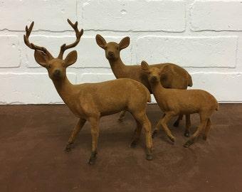 1970s Velveteen Deer Figurines