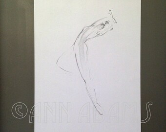 ORIGINAL art, Figure drawing, Pencil sketch, black and white drawing, minimalist art by Ann Adams 012