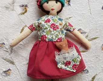 "Calico vintage style cloth doll ""Sophie"", one of a kind ragdoll, heirloom, baby gift"