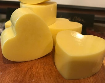 Heart shaped Guest Size Soap Bars (set of 6 +)   Lemon Scented   Travel Amenities Bed Breakfast Hotel   Baby Shower Favors  Mini Vegan Soaps