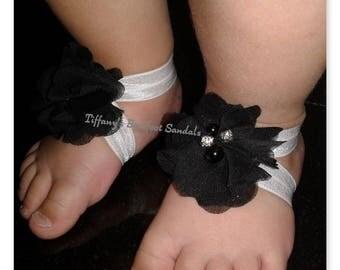 Black Chiffon flower sandals