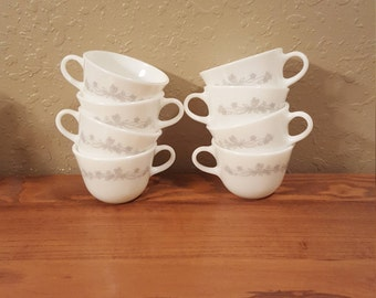 Set of 8 vintage Corning Ribbon Boquet coffee or tea cups.  White and gray ribbon and flower design.  Vintage coffee cup set.