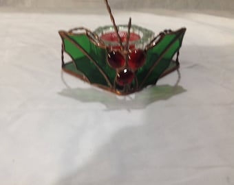 Stained glass holly berrie votive holder