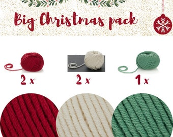 Christmas Yarn Set - 5 Balls of Merino Superwash Yarn - Soft Merino Yarn Aran - Red, Green and White Yarn - Baby Christmas Outfits Yarn-Xmas