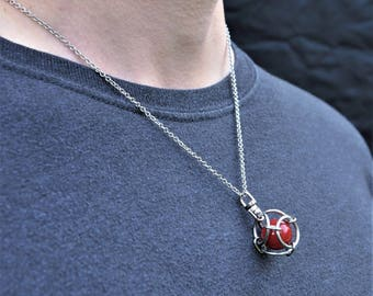 Caged Red Marble Pendant