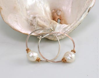 Silver or Gold Druzy Pearl Hoop Earrings, White Freshwater Pearls on Self-Closing Hoops, WillOaks Studio Druzy Pearl Jewels Collection