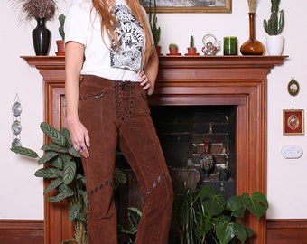 Vintage 90s Chestnut Suede Lace Up Western Flared Trousers S