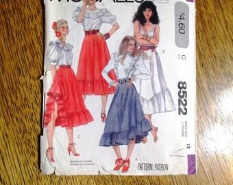 "VINTAGE 1980s High Waisted Ruffle Skirt / BOHO Bias Cut Peasant Skirt / Gypsy Skirt - Sized 12 (Bust 26.5"") - UNCUT ff Sewing McCalls 8522"