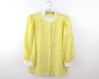 Hello Sunshine Blouse - Vintage 1980s Yellow and White Polka Dotted Top in Large