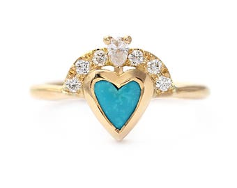 Heart Engagement Ring, Turquoise Engagement Ring, Turquoise Diamond Ring, Victorian Engagement Ring, Turquoise Ring, Turquoise Heart Ring