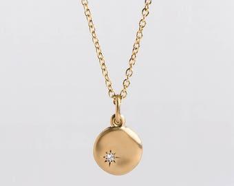Large Diamond Pendant 18k 14k Yellow Gold Pendant, Little Diamond Charm Necklace, Disc Pendant Gold Diamond Pendant Nugget