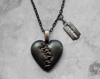 Gothic stapled loveheart & razor blade 'This Love' necklace / Pewter black clay heart + gunmetal chain / Macabre Horror Punk Goth jewellery