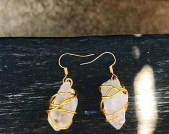Raw Quartz Gold Earrings