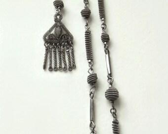 Antique GEORGIAN Berlin IRON Silesian Wirework Necklace Chain Filigree Tassel, Cut STEEL Beads, Rare Early Victorian Jewelry c.1830's
