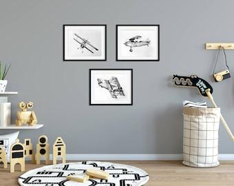 Airplane Nursery Decor- Airplane Nursery Art - Nursery Art Boy - Airplane Nursery Wall Art - Boy Nursery Decor - Airplane Boy Bedroom Art