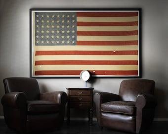 American Flag Print : Vintage American Flag - 48 Star American Flag - WW2 Era American Flag - American Flag Art - Giclee Art Print