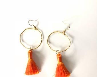 Clemson orange tassel earrings