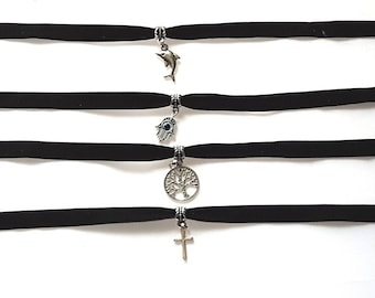 Handmade Velvet Chokers  With A Choice Of 12 Different Metal Pendants in free gift bag