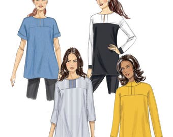 Butterick B6416 Sewing Pattern Misses Very Easy Loose Fitting Pullover Tunic with Sleeve and Neckline Variations sz 14 Thru 22 Uncut