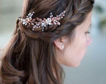 Rose gold bridal hair pins Rose gold wedding hair accessory Rose gold leaf hair pins Rose gold headpiece Rose Gold Hair Clips Flower hair