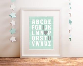 Nursery Wall Art - ABC - DIY Printable Instant Download - Mint and Gray Baby shower - Digital Nursery Prints 8x10 - Nursery alphabet