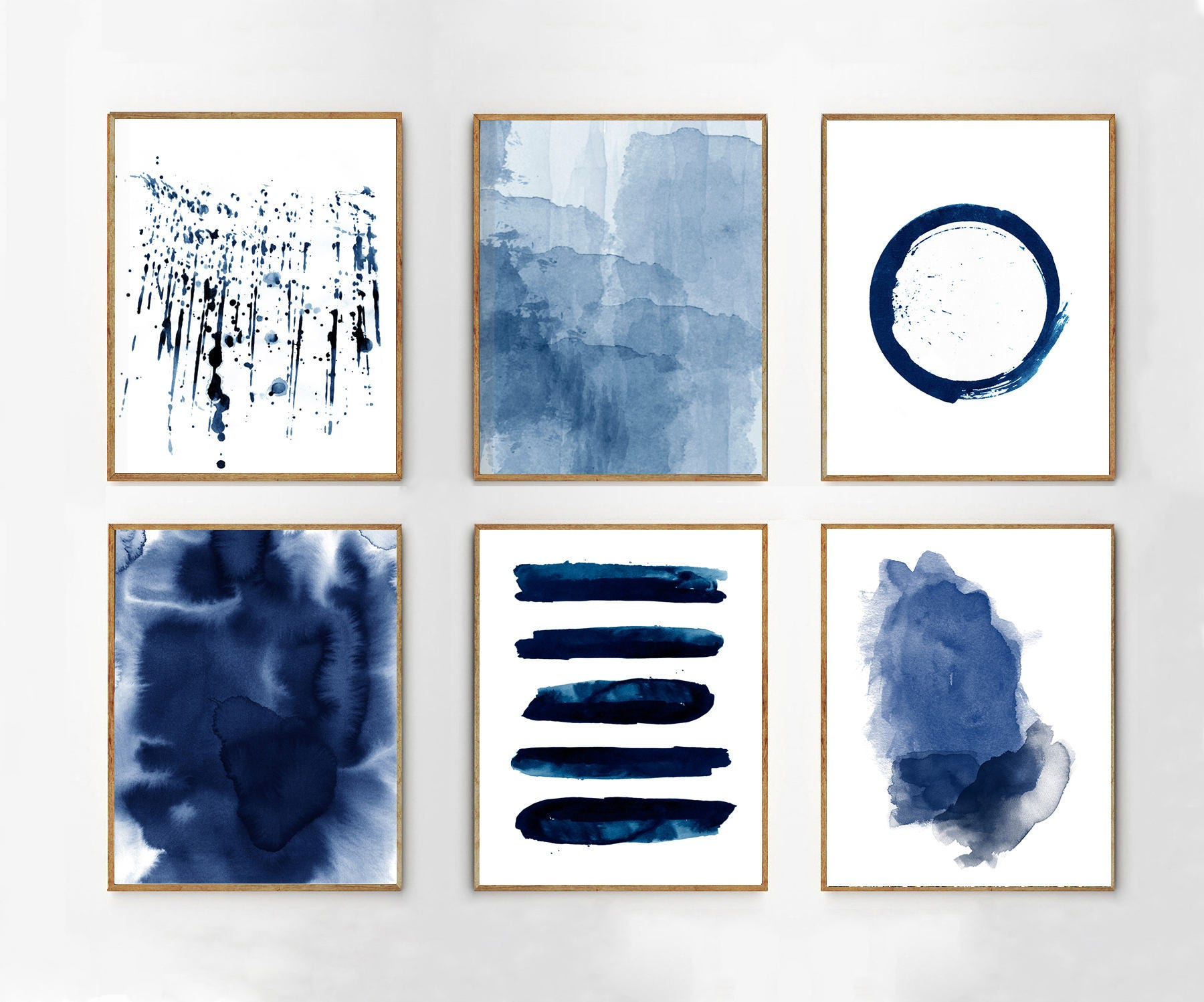 Abstract watercolor prints set of 6 blue wall art minimalist for Minimalist wall painting