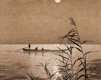 "Japanese Art Print ""Moonlit Sea"" by Koho Shoda, woodblock print reproduction, asian art, cultural art, reflection, ferry, boat, ocean"
