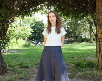 Hemp Skirt, Woman, Organic Fashion, Handmade, Vegan, 100% Hemp