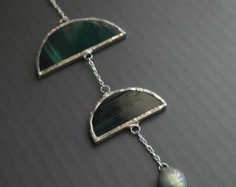 Stained Glass & Stone Hanging - Green Labradorite - OOAK