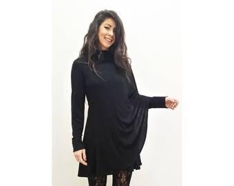 SALE - Black Luxurious Merino Wool Knit Wrap Cardigan Washable S-XL
