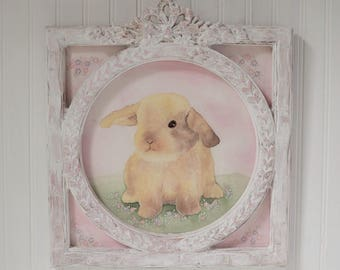 Nursery Art Bunny Rabbit Fabric Painting Pink Frame Baby Toddler Girl Nursery Original Artwork