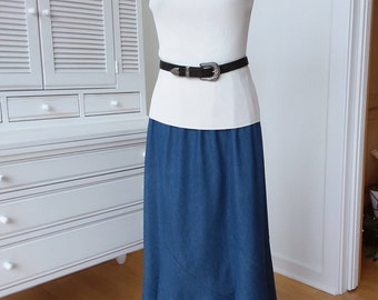 Figure Flattering Straight Denim Skirt with Tumpet Bottom, Gored Hemline, Size Small and Medium, Elastic Waist