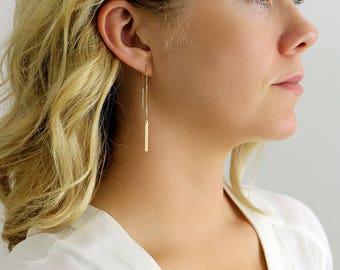 Bar Earrings - Long Chain Earrings - Bar Drop Earrings - 14kt Gold Filled - Threader Earrings