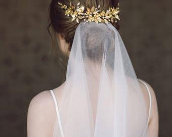 Wedding Headpiece, Gold Leaf Headpiece, Woodland, Grecian Hairpiece, Boho Bridal Back Headpiece, Wedding Hair Vine, Leaf Halo, Bridal Crown