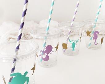 Mermaid Party Cups - Mermaid Baby Shower - Mermaid Birthday - Mermaid Party - Mermaid Baby Shower Decorations - Mermaid Cups - Birthday Cup