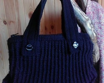 Elegant Black Knitted Handbag, Mother's Day Gift