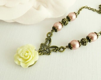 Dusty pink pearl necklace, ivory rose necklace, vintage style beaded jewelry, romantic jewelry, gift for her, brass and bronze jewelry
