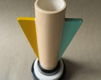 Vintage Vandor 1985 Art Deco Style Hand Painted Ceramic Vase. Made in Japan. Memphis Design. Metropolis Meets Pretty in Pink.