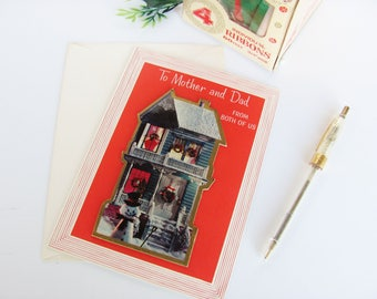Five Christmas Cards 1960s Ambassador To Mom and Dad From Both Of Us Dimensional House Design Unused With Original Envelopes