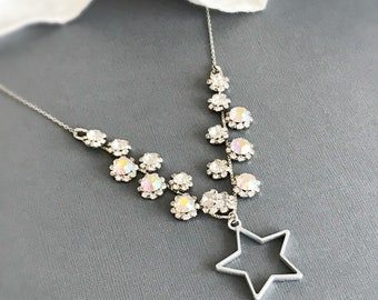 star necklace rhinestone necklace celestial necklace silver star pendant atrology necklace astronomy jewelry statement necklace STARRY NIGHT